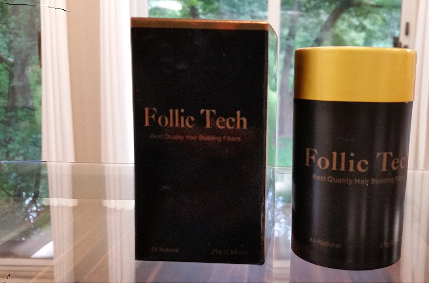 Follic Tech Hair Building Fibers Dark Brown 25 Gram Shaker Bottle Compare To Competitors Like Toppik®, Xfusion®, Miracle Hair®