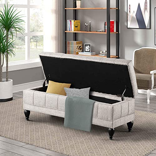 42 inch Storage Bench Tufted Linen Fabric Flip Top Solid Wood Frame Ottoman Beige 42.7 inch