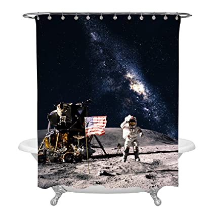 MitoVilla Astronaut With American Flag Shuttle On Lunar Landing Mission Picture Universe Shower Curtain For Planet