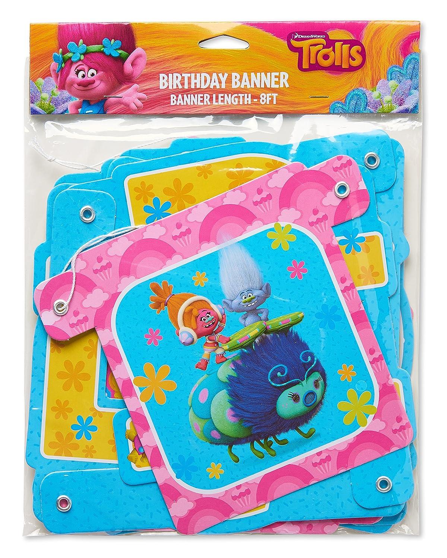amazon com american greetings trolls birthday party banner toys