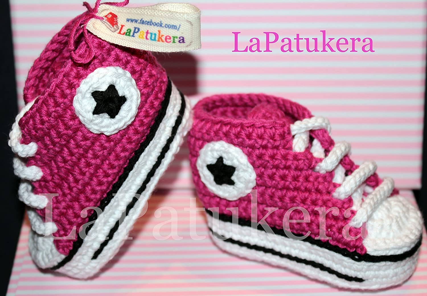 b927a1dd4f76fc Baby booties. Crochet Unisex Converse style. 100% cotton. Sizes from 0 to 9  months. Handmade in Spain. Gift for baby. Sports Patukos  Amazon.ca   Handmade