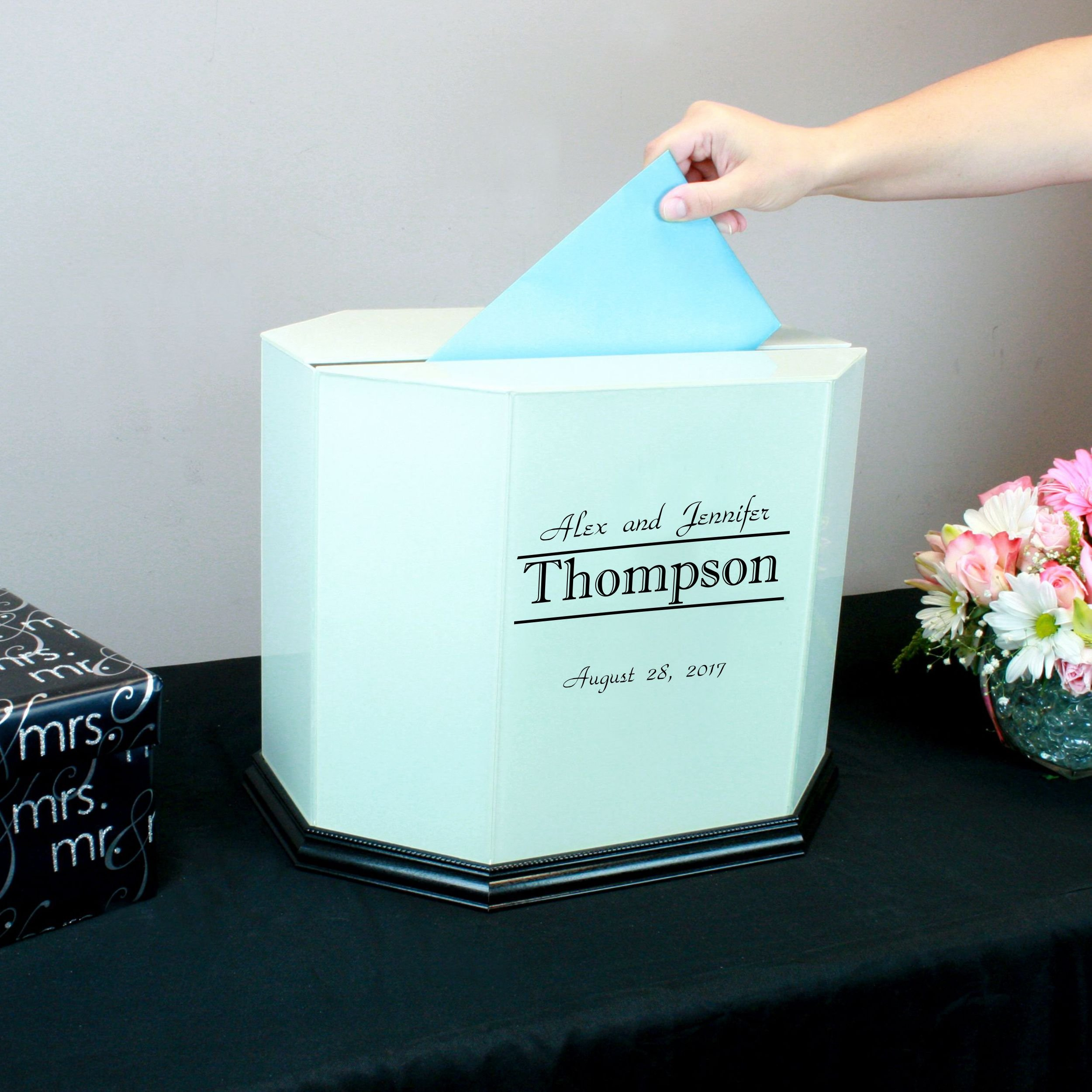 Personalized Wedding Card Box White Glass with Black Trim by Perfect Cases