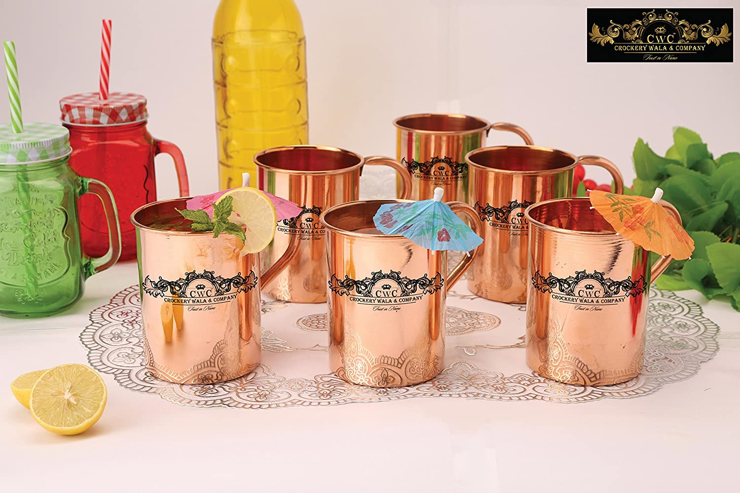Crockery wala and Company Premium Set of 6 Copper Pipe Plain Mugs made of 99.5% Pure Solid Copper, Great for cold drinks and for kitchen and bar purposes