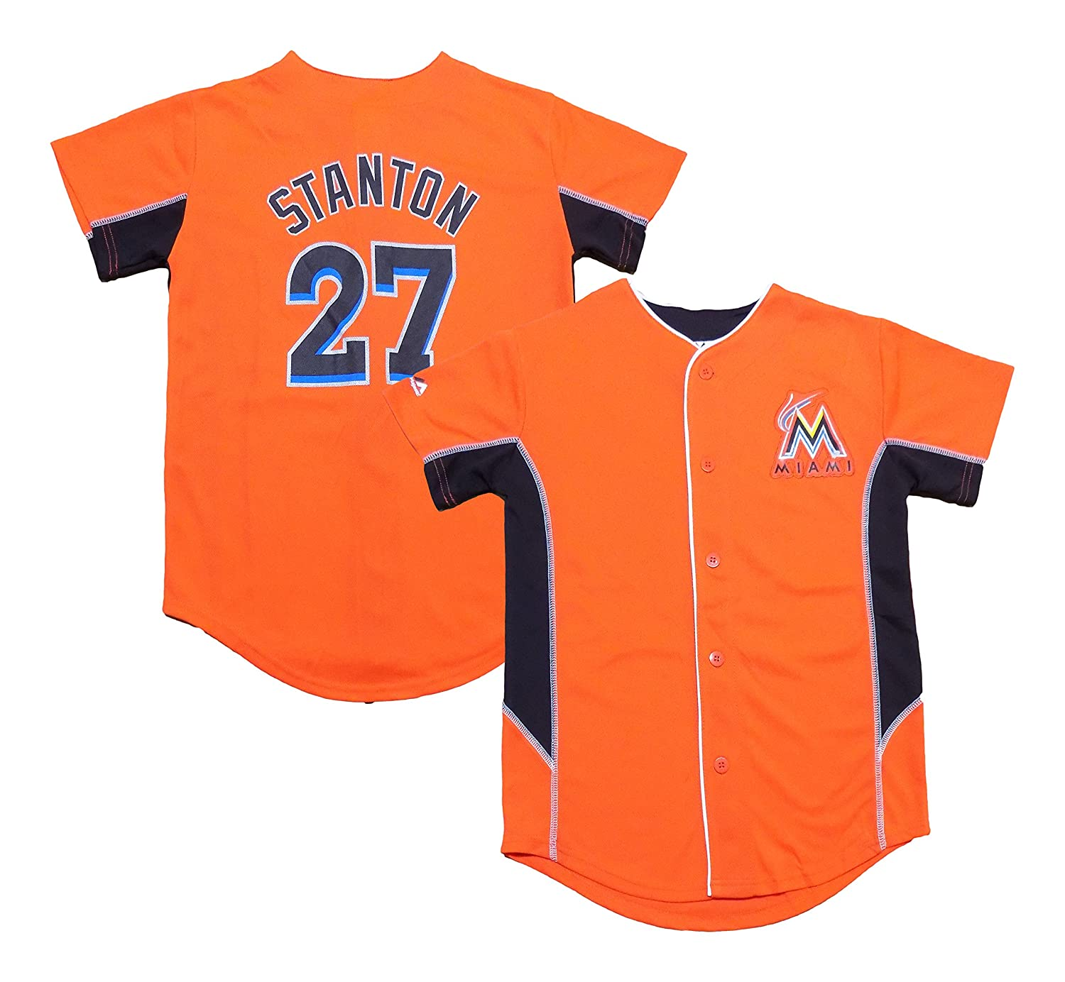 0a4a5d49f ... official store amazon outerstuff giancarlo stanton miami marlins orange youth  team leader jersey clothing 28de3 8e395
