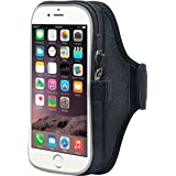 EOTW Sports Armband Exercise Gym Running Cell Phone Arm Band Case Holder For iPhone 6 6S Plus, Galaxy S4 S5 S6 S7 Edge Plus,LG G3 G4 G5 Moto HTC Huawei Blu Nokia, Black 5.5 Inch