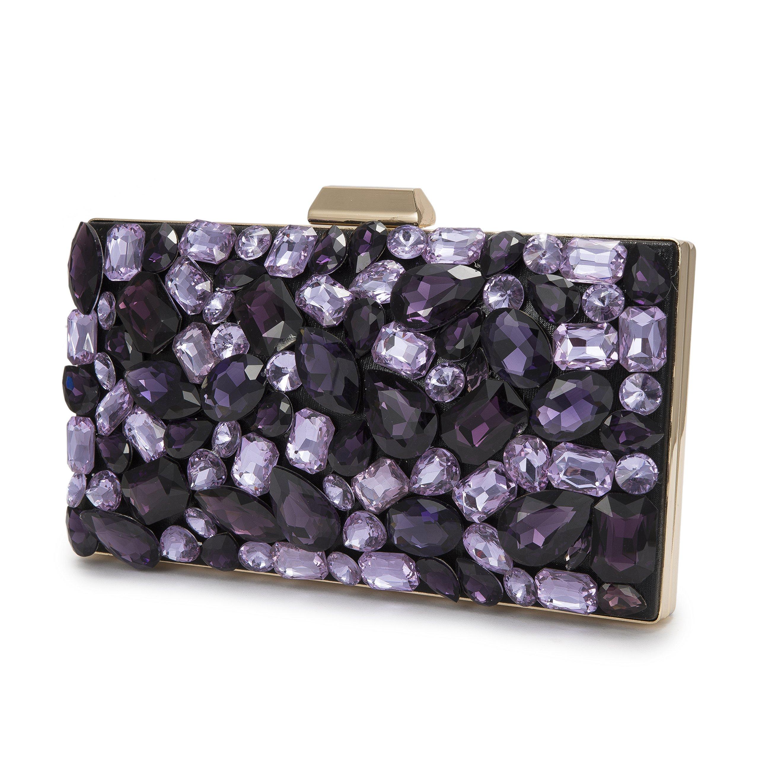 Evening Bag Clutch Beads Black women Crystal purple Rhinestone bag evening handbags clutches for women