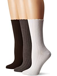 No Nonsense womens Scallop Pointelle Sock 3-pack Casual Sock