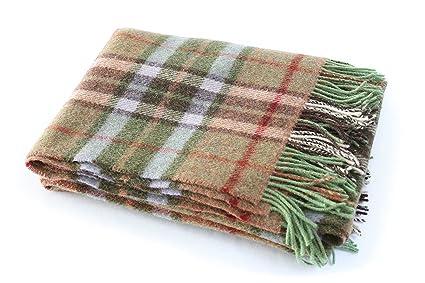 ae4538865a52a Amazon.com: Biddy Murphy Plaid Wool Blanket Throw 100% Wool Soft 54 ...