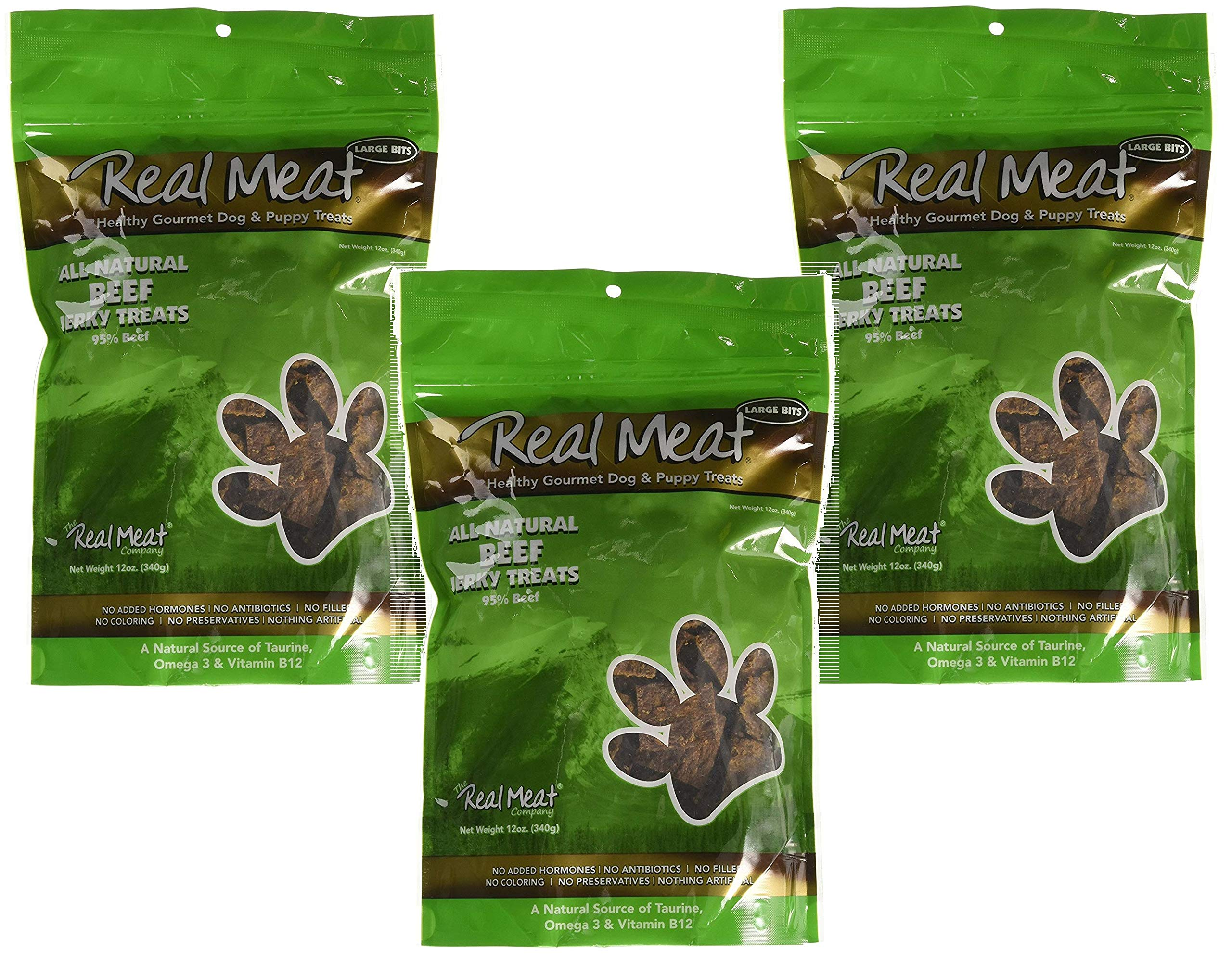 Real Meat Company 3 Pack of All Natural Beef Jerky Treats, 12 Ounces Each, Healthy Grain-Free Dog Treats with Taurine Omega 3 and Vitamin B12