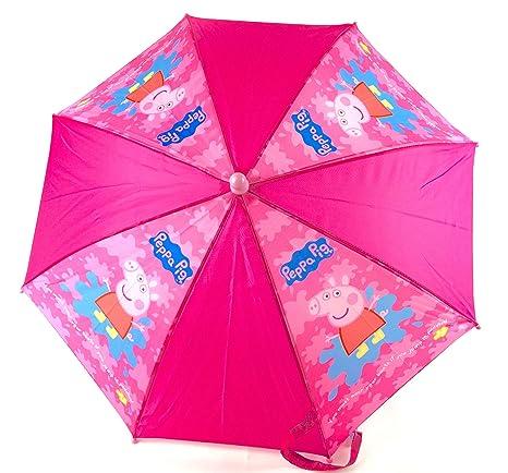 Calidad Peppa Pig Splat Girls Pink Escuela Lluvia Sol Paraguas nuevo