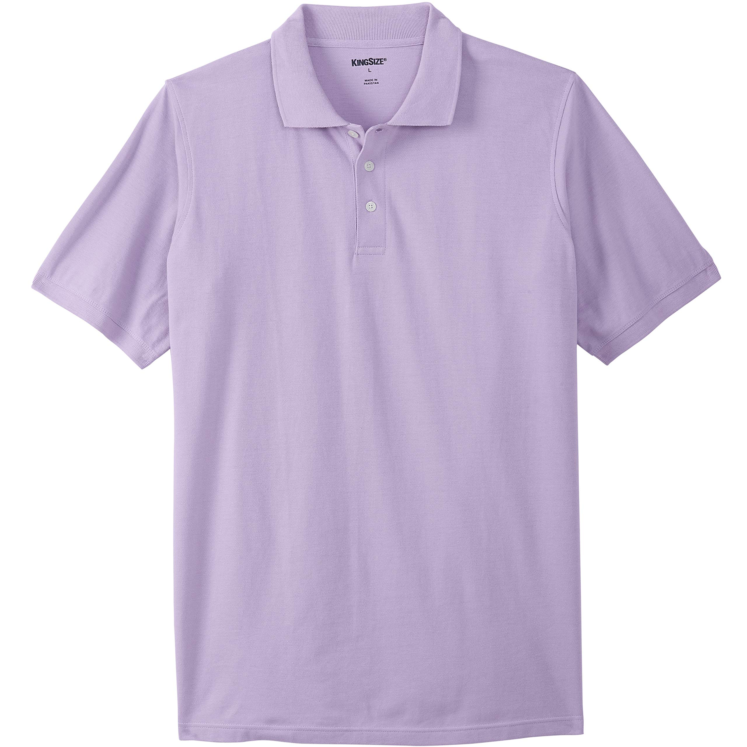 KingSize Men's Big & Tall Longer-Length Pique Polo Shirt, Soft Purple Big-2XL