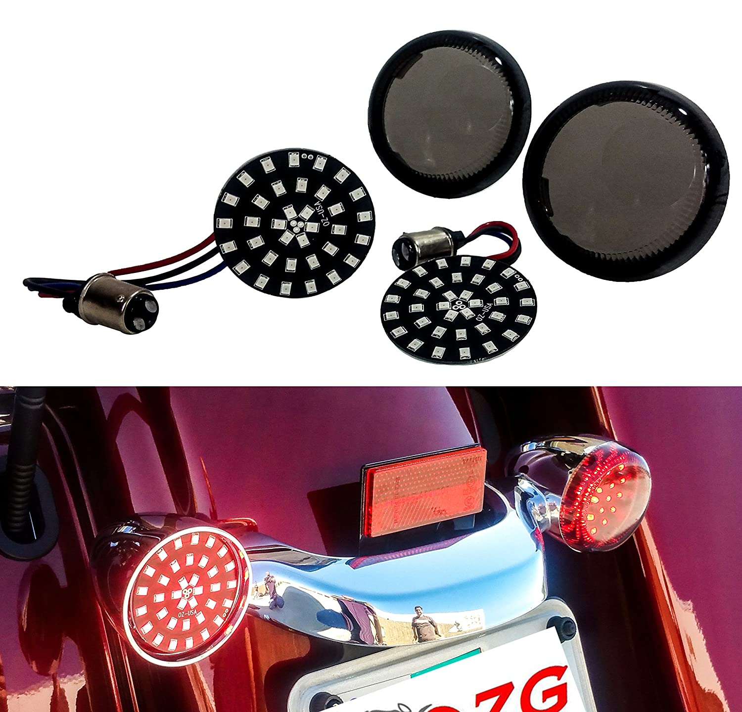 4 OZ-USA Clear Turn Signal Lens Deuce-Style Snap On Replacement Lens for Harley 2002-2013 Street Glide FLHX Set