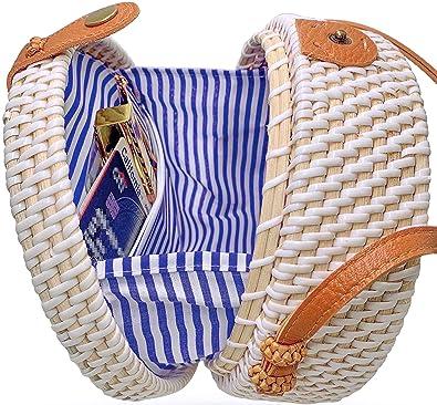 Amazon.com: Bolso de mimbre redondo hecho a mano con correa ...
