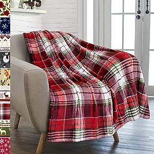 PAVILIA Christmas Throw Blanket | Holiday Christmas Red Fleece Blanket | Soft, Plush, Warm Winter Cabin Throw, 50x60 (Red Green Plaid)