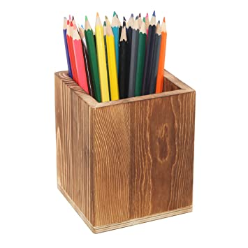 Dark Brown Natural Grain Wood Desktop Pen U0026 Pencil Holder Cups / Office  Supplies Organizer Caddy