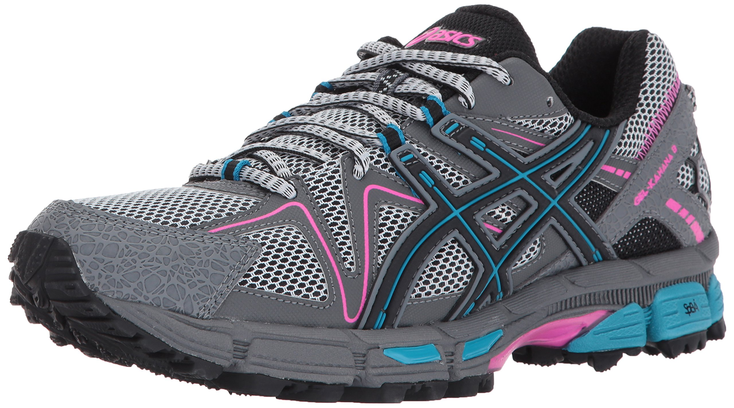 ASICS Women's Gel-Kahana 8 Running Shoe, Black/Island Blue/Pink Glow, 10 Medium US