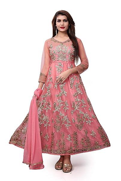 604aa75f905 Divine International Trading Co Women s Net Self Design Semi Stitched  Embroidery Salwar Suit Dupatta Material -