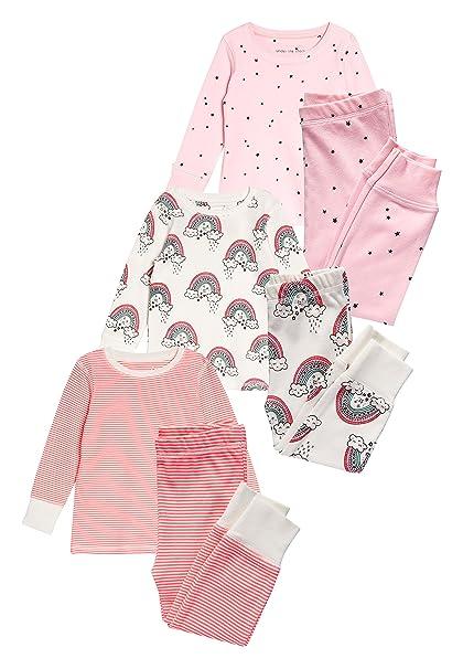 next Niñas Pack De Tres Pijamas Abrigados con Arcoíris Y Estrella (9 Meses - 8