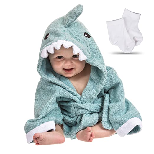 Lil Cuties Hooded Towel for Baby - Blue Shark comes with a pair of baby socks