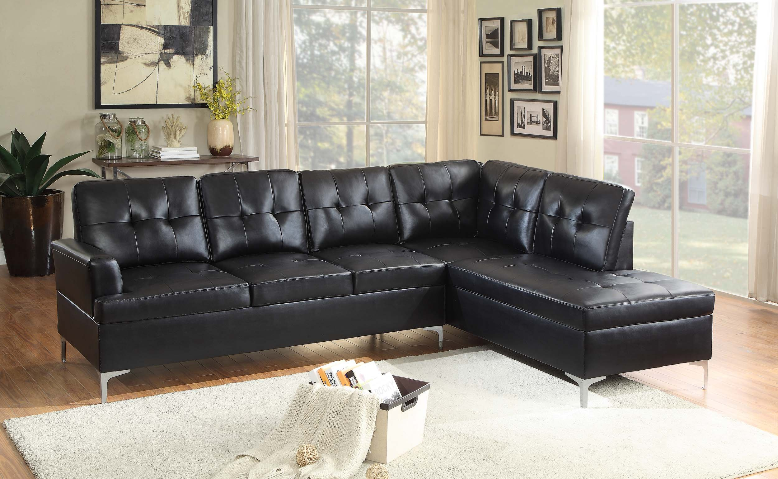 Homelegance 2 Piece Tufted Accent Sectional Sofa With Chaise Bi