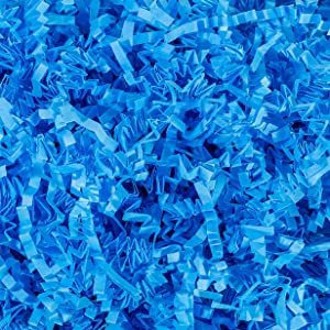 Crinkle Cut Paper Shred Filler (1 LB) for Gift Wrapping & Basket Filling - Light Blue   MagicWater Supply