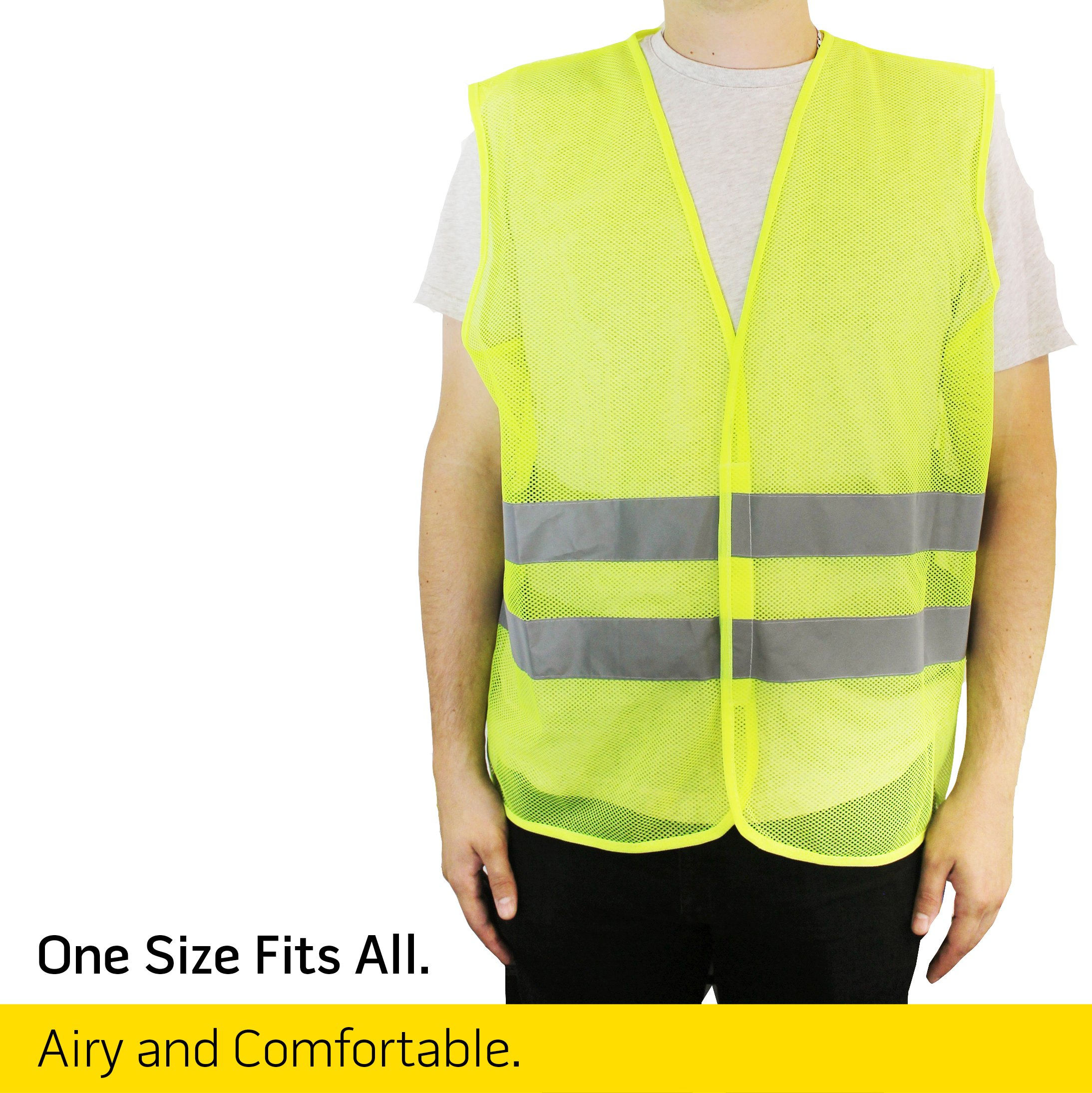 PeerBasics, 10 Pack, Yellow Reflective Safety Vest, Silver Strip, Bright Breathable Neon Yellow (Mesh, 10) by PeerBasics (Image #5)