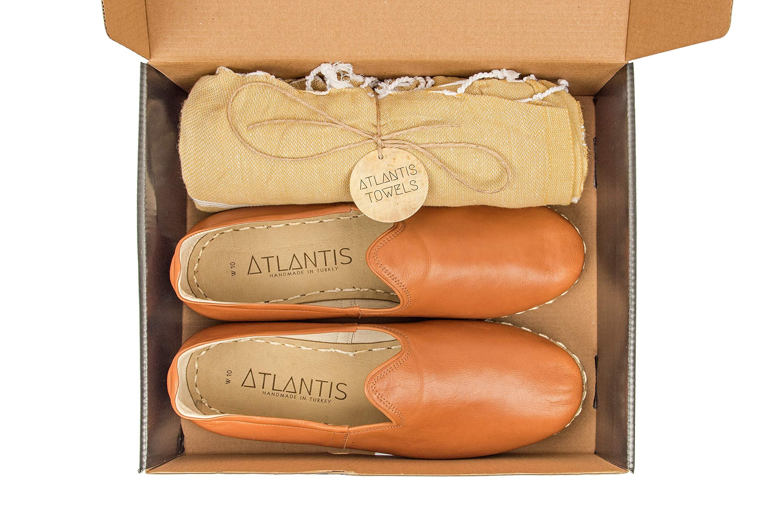 Atlantis Handmade Women's Flat Slip On Leather Yemeni Shoes - Brown (7)