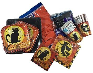 Gato y Bruja Halloween suministros para 16 - desechables platos, vasos, servilletas, cubiertos, mantel - 141 piezas decoración: Amazon.es: Hogar