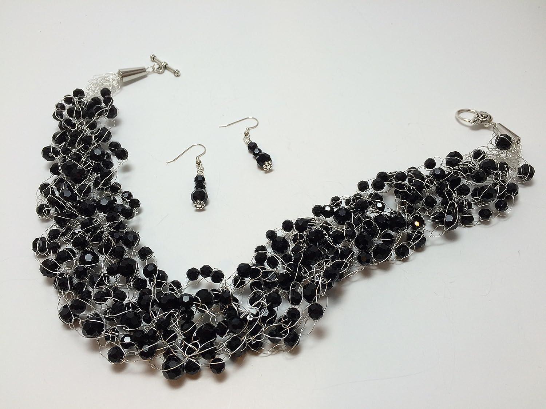 Amazoncom Black Silver Crochet Wire Necklace Handmade