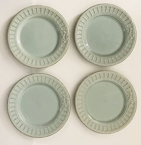 Light Blue/Green With A Brown Distressed Design Ceramic Plate | Made In Portugal | : light dinner plates - pezcame.com
