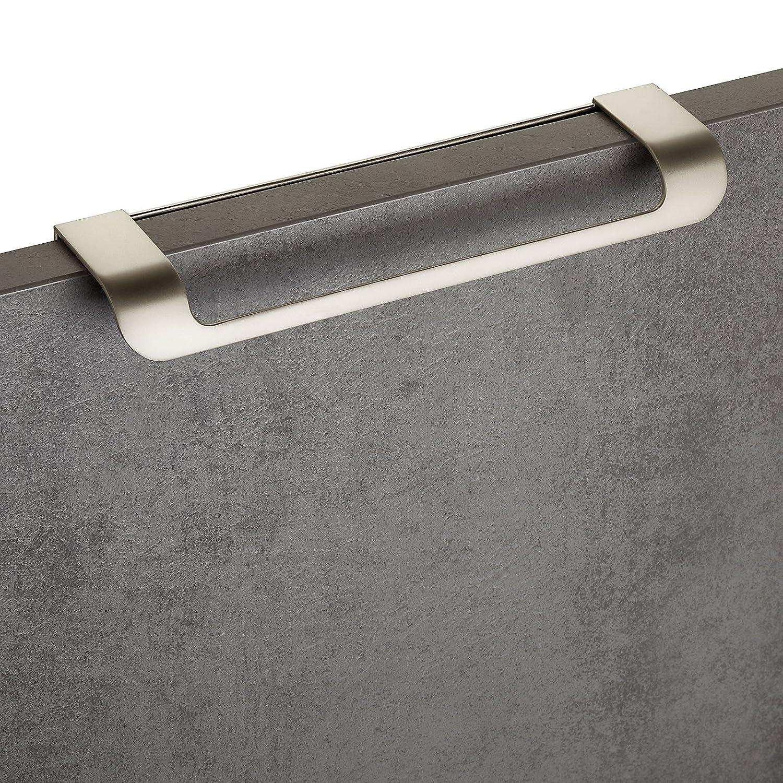 5 x Poign/ée de Meuble LYS Entraxe 160 mm Finition en Acier Inox opaque Poign/ées pour Tiroir Poign/ée de Cuisine Poign/ée pour Porte Pliante de JUNKER DESIGN