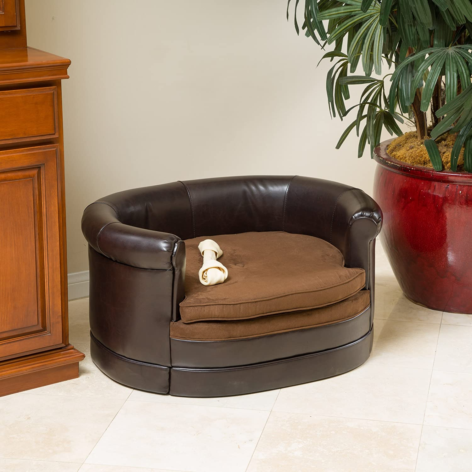 Amazon Rover Oval Chocolate Brown Leather Dog Sofa Bed Pet