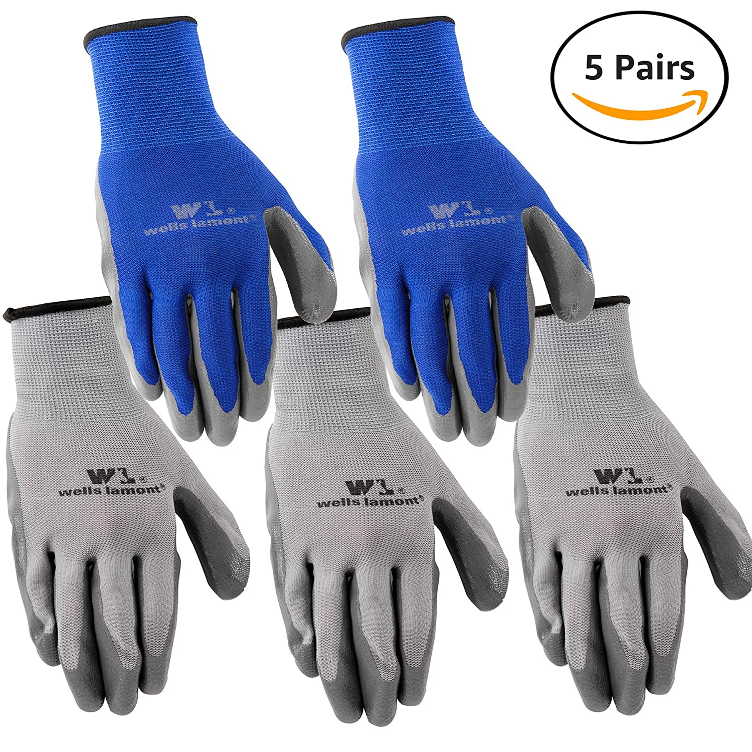 Wells Lamont Nitrile Work Gloves, 5 Pack, Large (580LA)