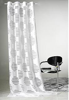 Gardine Puristisch Moderner Ösenschal HxB 245x140 Cm Chic In Strahlendem  Weiß Mit Abstrakten Ausbrenner Kreisen