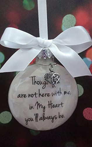 memorial christmas gift gift though you are not here w heart charm in
