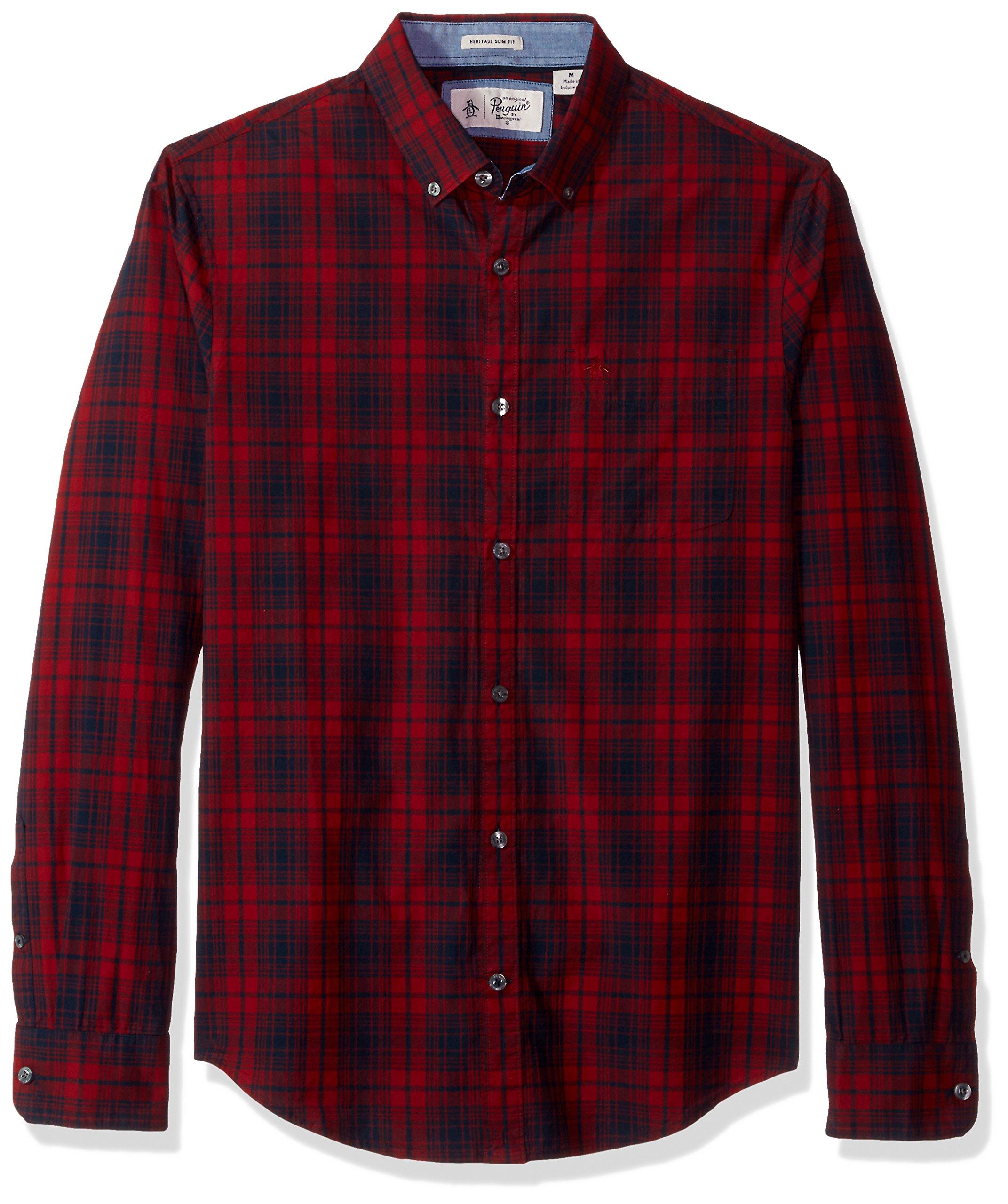 Original Penguin Men's P55 Plaid Shirt, Pomegranate, Large