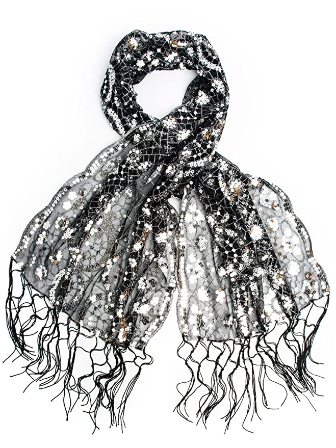1920s Style Shawls, Wraps, Scarves Vera Vintage Inspired Sequin Shawl $18.95 AT vintagedancer.com