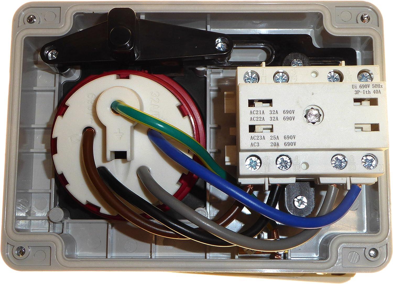 32 Amp 415 V 5-poliger Verriegelungssteckdose 3P+N+E 3-Phasen-Schaltung Rot
