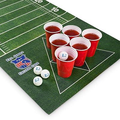 Mantel para Juego de Beer Pong Evil JaredŽs   60 Vasos Rojos + 6 Pelotas de Ping Pong   Diseño Campo de Fútbol Americano   180 x 60 cm: Juguetes y juegos