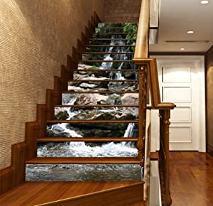 3D Stone River Nature 6300 Stair Risers Decoration Photo Mural Vinyl Decal Wallpaper Murals Wallpaper Mural US (15x H:18cm x W:102cm (7