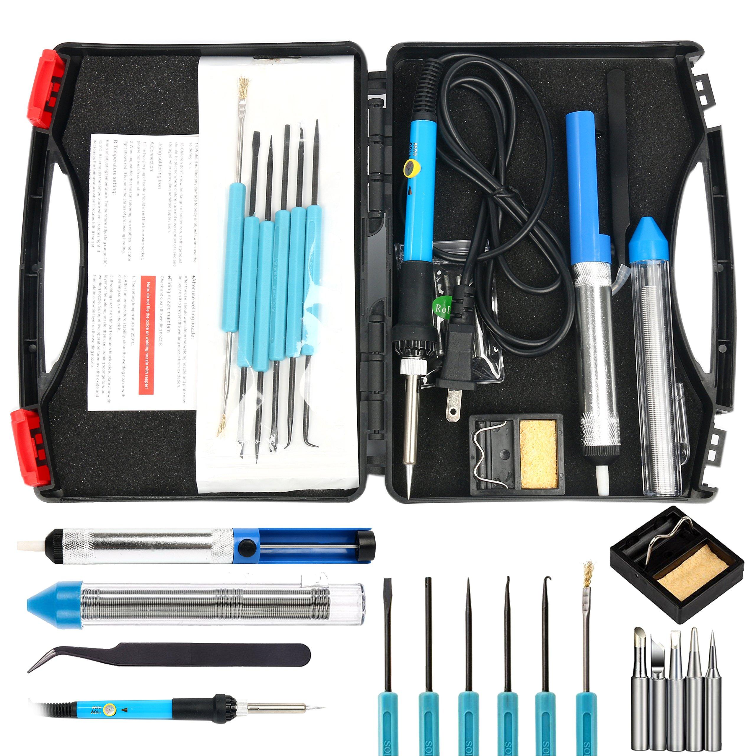 YaeTek 17in1 60W 110V Adjustable Temperature Welding Soldering Iron Kit with Soldering Gun Pen, Desoldering Pump, 5pcs Tips, Stand, Anti-static Tweezers, Additional Solder Tube, Carry Case