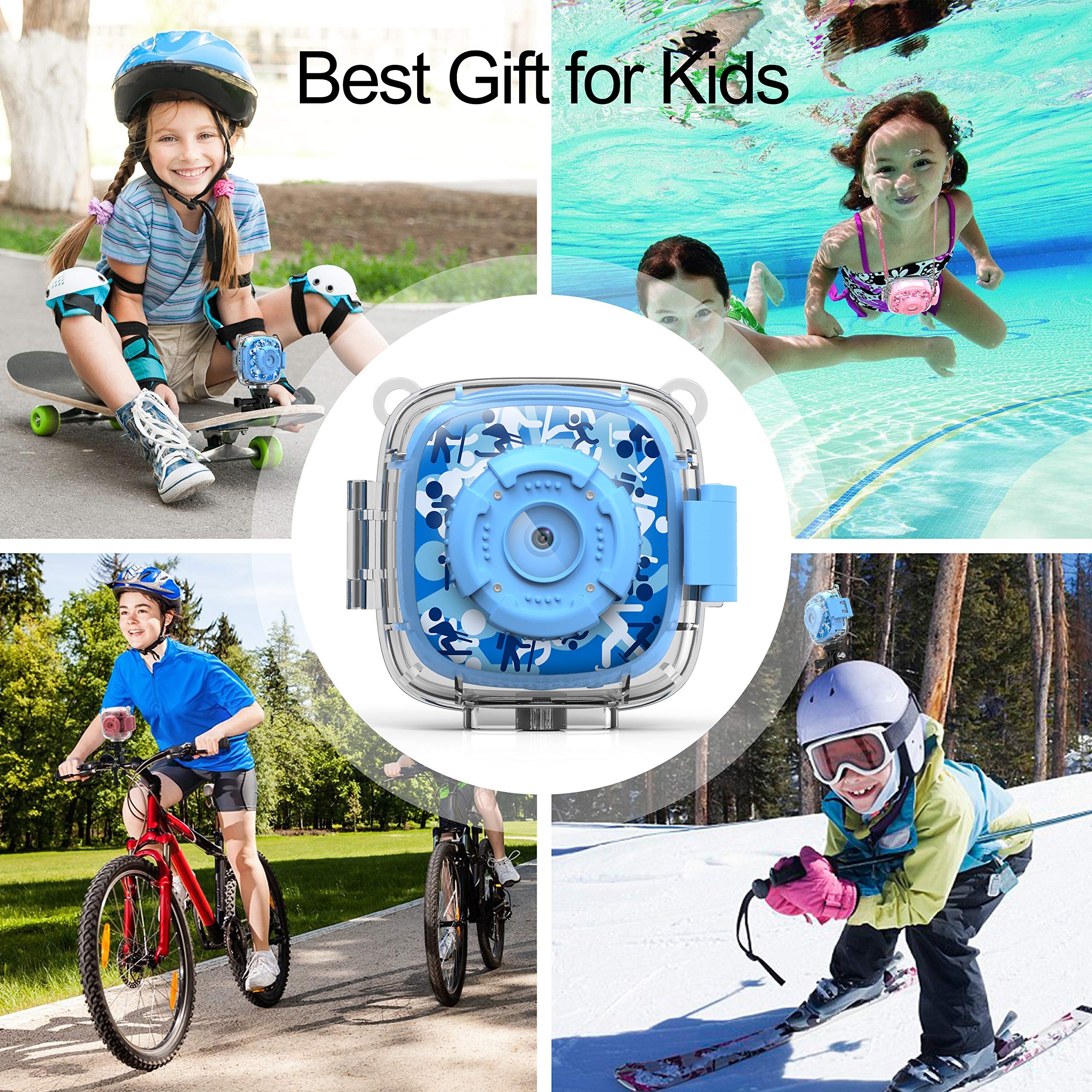 AKAMATE Kids Action Camera Waterproof Video Digital Children Cam 1080P HD Sports Camera Camcorder for Boys Girls, Build-in 3 Games, 32GB SD Card (Blue) by AKAMATE (Image #7)