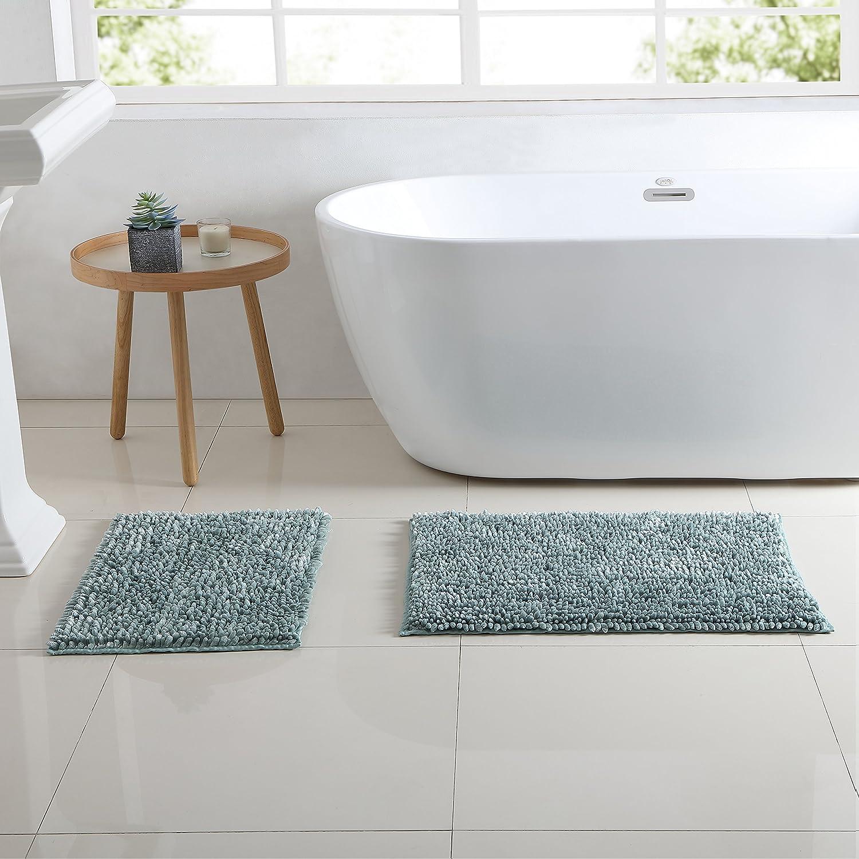"Hudson & Essex Chenille Noodle Bath Rug: Iridescent Turquoise Non Slip Bath Mat Design (20"" x 30"" inch)"