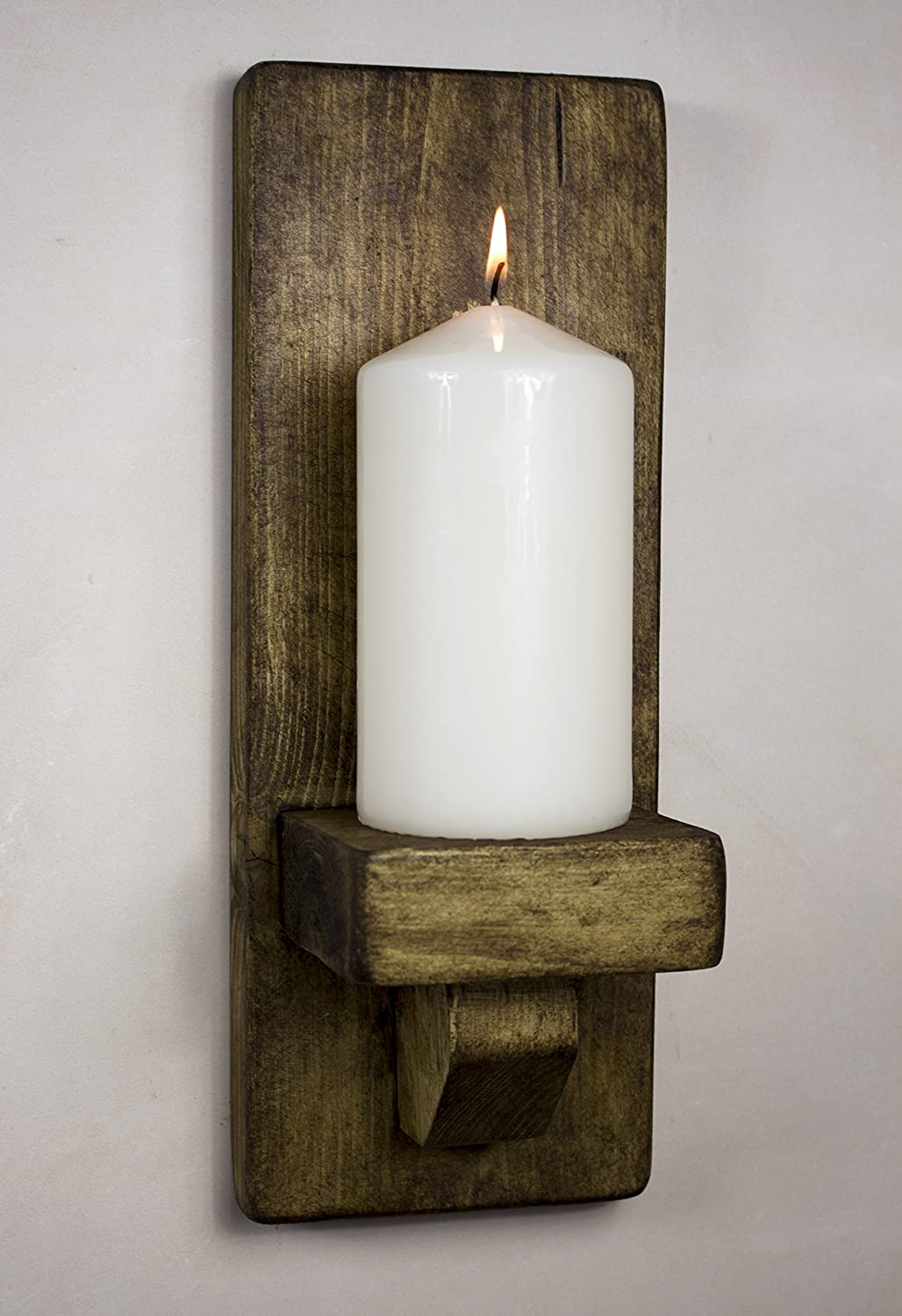 rustic wooden wall sconce candle holder (dark oak). amazoncouk candle sconces home  kitchen