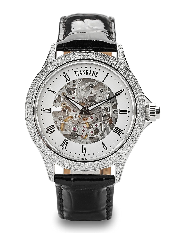 tianrans Herren Kristall akzentuierten Skelett Zifferblatt Leder Band Silber Edelstahl Automatik Armbanduhr