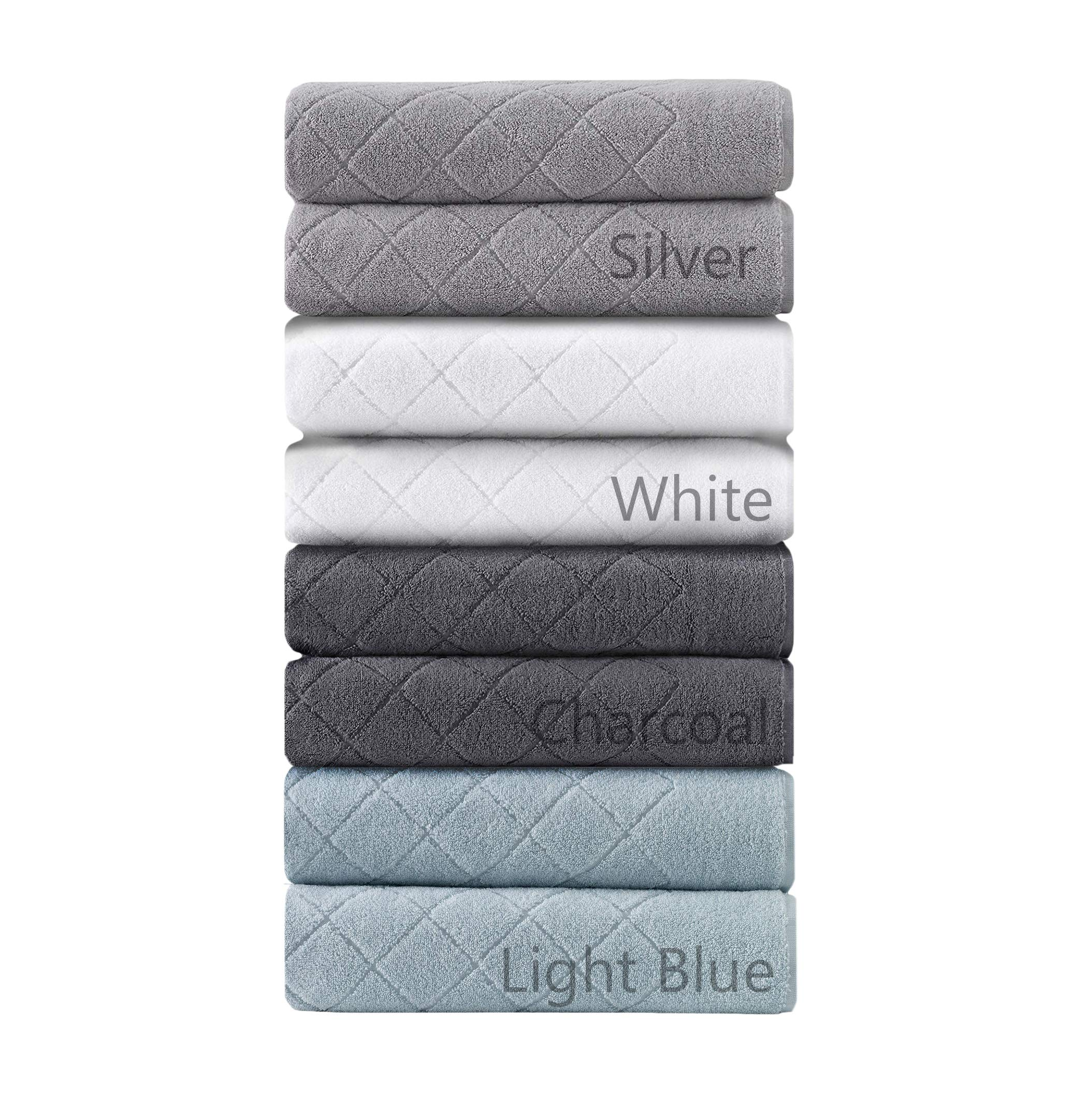 Enchante Home 2-Pack 100% Turkish Cotton Luxury Bath Sheet Towel Set for Home & Spa - Quality Soft & Absorbent - Jacquard Gracious Design (Charcoal Gray)