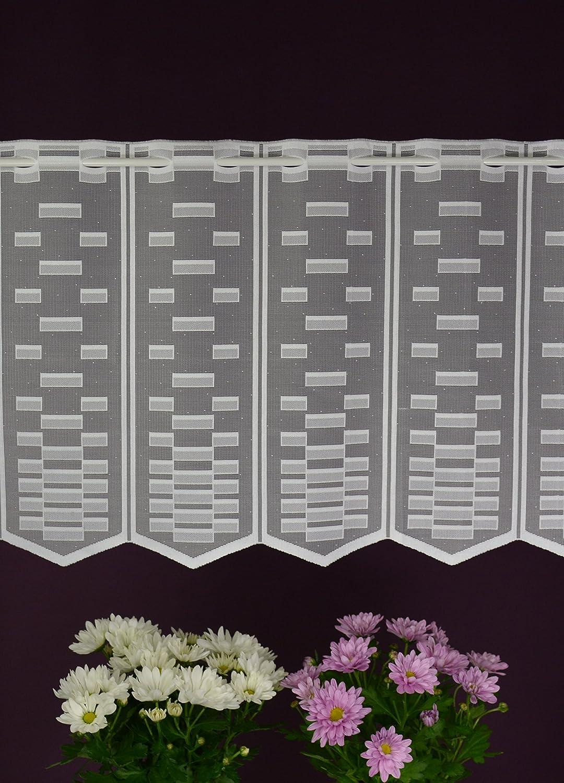 /Largeur 13/cm Albani Brise-bise sur Mesure lamellenpanneau Bistro Rideau Brise-bise transparenz Stoff Novum-Fix Blanc Hauteur 45/cm/ Tringle