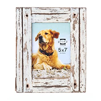 prinz homestead distressed wood frame 5 by 7 inch white - Distressed Wood Frames