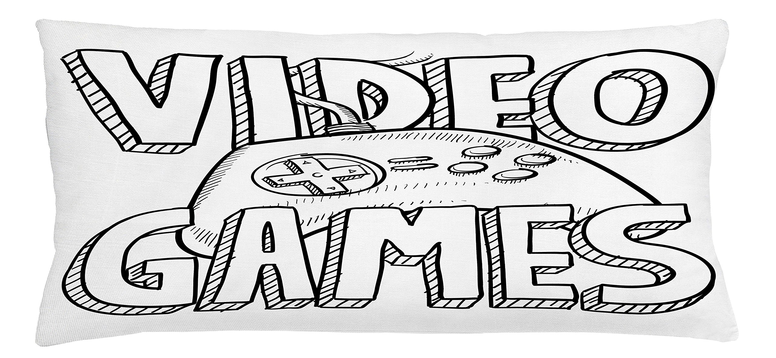 Lunarable Boy's Room Throw Pillow Cushion Cover, Doodle Style Video Games Typography Design with a Controller Sketch Artwork, Decorative Square Accent Pillow Case, 36 X 16 inches, Black White