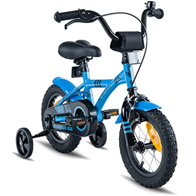 """PROMETHEUS Kids bike 12 inch Boys and Girls in Blue & Black with stabilisers 
